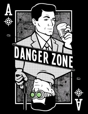 Danger Zone Archer Playing Card T-Shirt