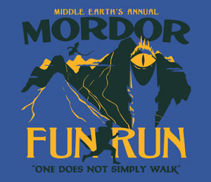 Mordor Fun Run T-Shirt Blue - Click Image to Close